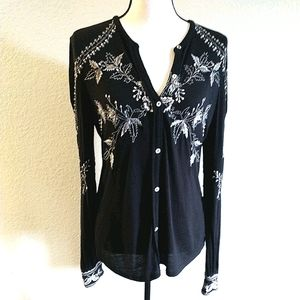 LUCKY black stretch embroidered blouse / cardigan
